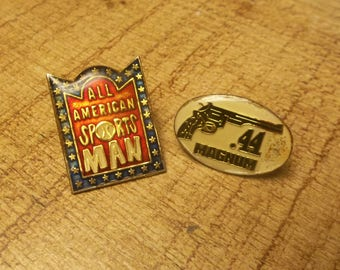 44 Magnum Enamel Pin Pair for Trucker Cap, Lapel Pin, Snapback Cap Pin, Outlaw Country,  All American Sportsman, Hunting, Guns, NRA