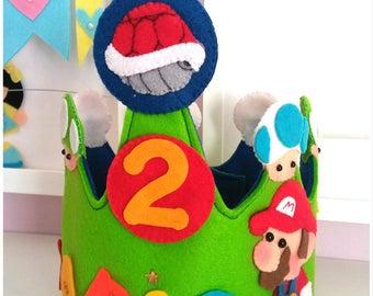Super Mario Bros-Corona Mario Bros-Birthday-kids-party-gift-children's decor-Mario Bros-Custom crown-birthday Mario Bros