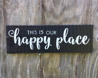 This is Our Happy Place Sign, Farmhouse Black and White Sign, Rustic Pallet Wood Wall Hanging, Living Room Saying Sign, Kitchen Dining Decor