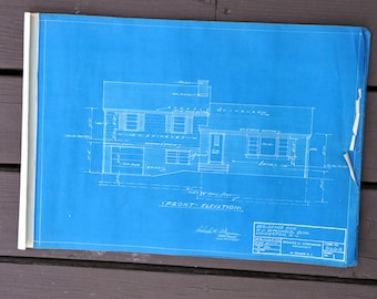 Mid Century Frameable Split Level Ranch Home Architectural Blueprints Set of Six, Wall Art, Architecture, Modern, Design