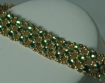 Gold and Green Crystal Bracelet