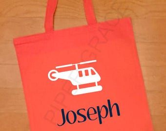 Helicopter Tote Bag, Kids Tote Bag, Childrens Tote Bag, Personalized Tote Bag, Custom Tote Bag, Baby Gift Ideas