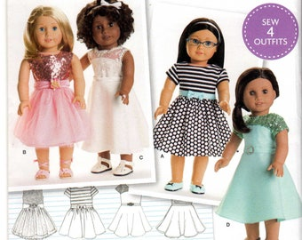 "Simplicity 8039 Sewing pattern for 18"" American Girl dolls Party dresses, Holiday dresses, School dresses"
