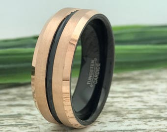 8mm Rose Gold Tungsten Ring,  Personalize Engrave Two Tone Black & Rose Gold Plated Tungsten Wedding Ring,Ring for Him, Ring for Her