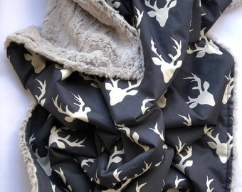Baby Boy Blanket, Baby Nursery, Deer Minky Blanket, Buck Plush Minky Blanket