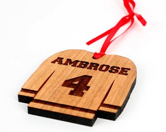 Hockey jersey Christmas Ornament - Personalized Engraved Christmas Ornament and Gift. Hockey Fan ornament Solid Wood Baby's First Christmas