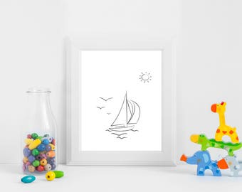 Toy Yacht Print,Sailing Boat Print,Black and White Hand Drawn Wall Art,Digital Download,Line Art,Printable Poster,Bedroom  Art