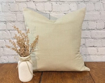 Beige Ticking Stripe Pillow Cover, Beige and White Stripe, Durable Pillow cover, Cotton Duck Pillow Cover, Striped Pillow, 20x20