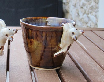 Blue and Brown stoneware with hanging cat mug