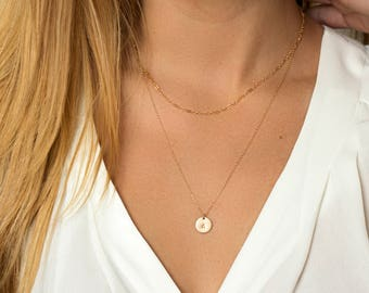 Personalized Initial Necklace Set - Initial Disc Necklace - 2 Dainty Layering Necklaces - Circle pendant with custom letter