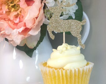 Deer Cupcake Topper | Cupcake Toppers | Christmas Cupcake Toppers | Holiday Party Decor | Gold Christmas Decorations | Deer Toppers