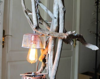 """Lampe industrielle """"Pink lady"""" By Recyclhome."""