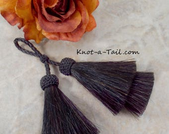 Luxurious all BLACK, horsehair tassel, X-long, X-thick double layer, horse hair tassel, horsehair necklace, boho tassel, purse tassel