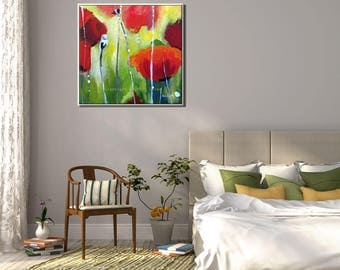 Valentines Day Gift for Her, Flower Wall Art, Canvas Art, Valentines for Her, Painting Print Valentines Day Gift, Valentines Presents