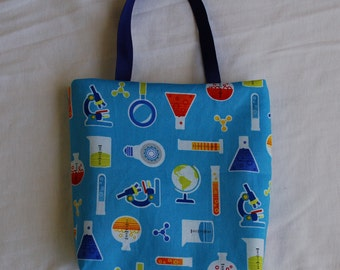 Science Fabric Gift Bag/ Party Favor Bag- Chemistry Lab on Sky Blue