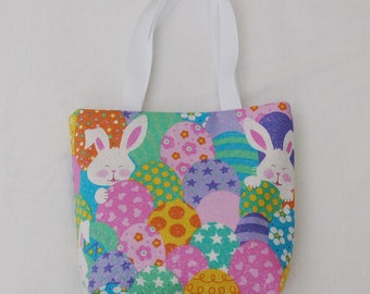 Easter Fabric Gift Bag/ Small Tote/ Easter Goody Bag- Bunnies and Eggs
