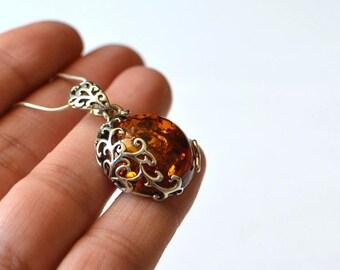 Amber jewelry etsy baltic amber pendant cognac amber necklace amber jewelry silver amber necklace aloadofball Images