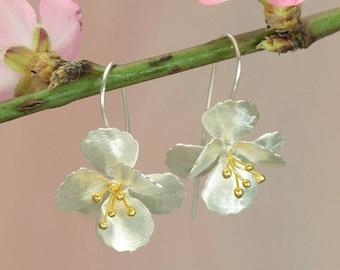 Cherry Blossom Earrings / Silver Flower Earrings / Drop Earrings / Earrings for Pierced Ears / Gold and Silver jewellery
