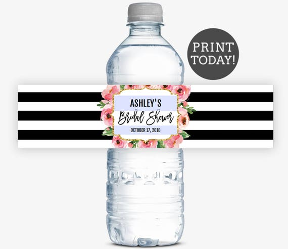 Kate Bridal Shower Water Bottle Labels PDF Floral Water Labels For