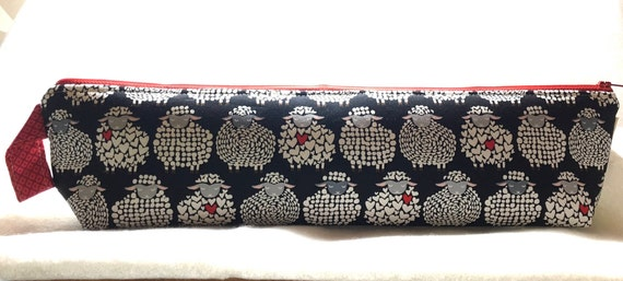 XL Triangle Accessory Case, Zippered Case, Pencil Case, Knitting Needles Case