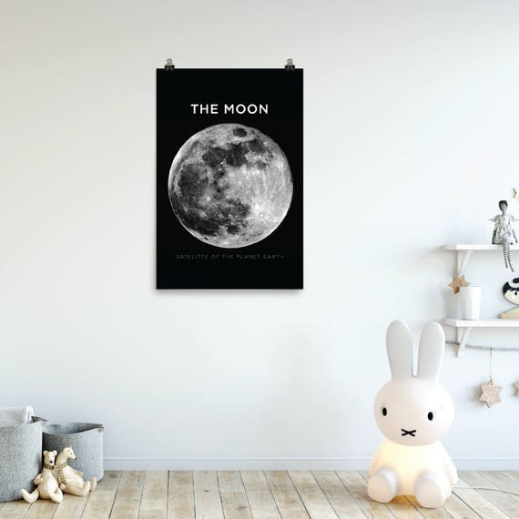 The Moon Poster | Modern Space Poster | Galaxy and Far, Far Away | Kids Room Poster | Astronomy Poster