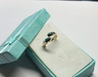 17.2 mm ring 925 Silver turquoise chips Mexico handmade SR920