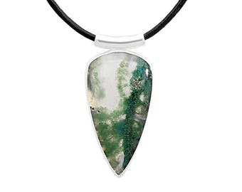 Moss agate pendant, sterling silver, moss agate necklace, gemstone necklace, natural stone, agate jewelry, handmade, green agate, triangle