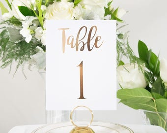 Rose Gold Foil Table Numbers Handmade Wedding Style #0102