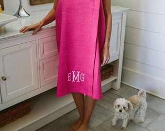 Monogrammed Waffle Bath Wrap - Embroidered Waffle Bath Wrap - Monogrammed Bath Wrap - Monogrammed Wrap