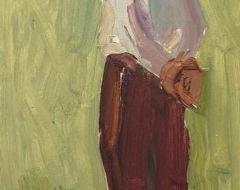 VINTAGE CHILD PORTRAIT Original Oil Painting by Volkova N., 1960s, Portrait of a Boy, Socialist Realism, Soviet Art, One of a Kind