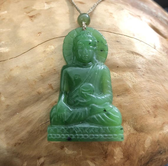 Canadian jade buddha pendant 4254 jade necklace natural like this item mozeypictures Images