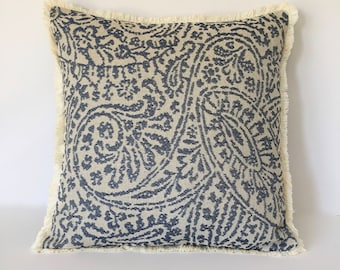 """Decorative Tapestry Pillow Cover - Textured Designer Pillow - Fringe Accent Pillow 18"""" x 18"""""""