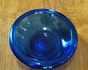 Cobalt Blue Low Bowl/Starburst Pattern