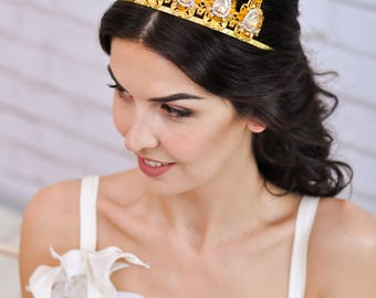 Gold crown Bridal tiara Wedding crown Crystal crown Wedding headband Bridal headpiece Crystal tiara Bridal crown Wedding tiara gold Diadem