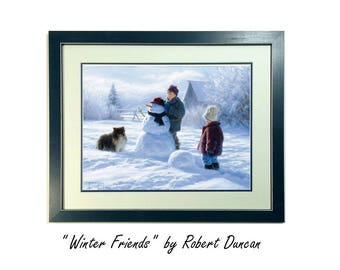 Winter Friends Art Print by Robert Duncan, Framed & Double Matted, Kids Snowman Dog, Boys Build Snowman, Winter Scene, Christmas, Snow Scene
