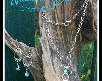 Goddess Drop and Turquoise Necklace and Earrings Set