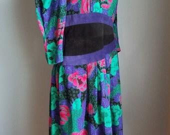 vintage multi-colored floral foliage suede dress