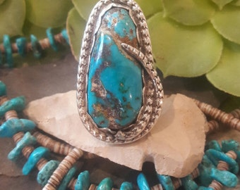 Amazing Vintage Huge Navajo Turquoise Sterling Rattlesnake Wrapped Ring