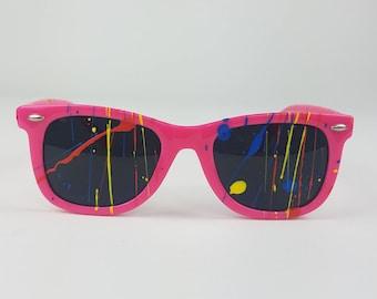 Vintage Neon Painted Wayfarer Sunglasses