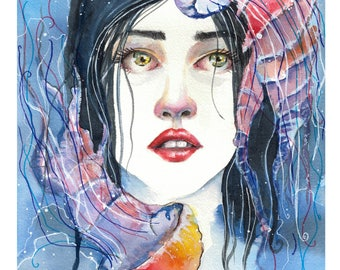 """Ethereal Dreams, Watercolor Girl with Jellyfishes, Painting - Print titled, """"Ethereal Dreams"""", Girl Painting, Fish, Watercolor Jellyfishes"""