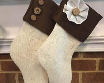 Chocolate Brown and White Burlap Stocking, WITHOUT name tag, Personalized Burlap Stocking