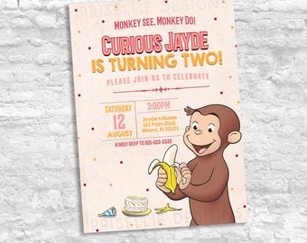 Curious George Birthday Invitation, Curious George Girl Pink Birthday Invitation, Monkey Birthday Invitation, Curious George Party Favors