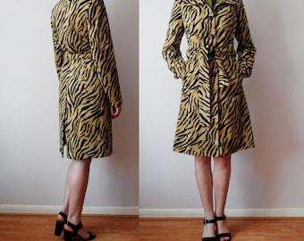 vintage 90's ZEBRA ANIMAL PRINT faux fur coat mac trench Small