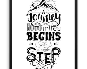 A Journey Begins With A Single Step Digital Print | Inspirational Quote Wall Art | 18x24 Printable Art | Desk Art | Motivational Quote