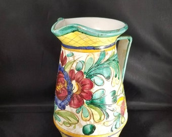Mid Century Italian Pottery Pitcher Signed and Numbered.