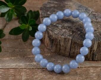 ANGELITE Power Bracelet - Angelite Stone, Angelite Beads, Angelite Bracelet, Chakra Bracelet, Angelite Crystal Beads, Angelite Jewlery E0537