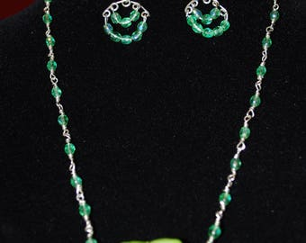 3 Pieces set Crystals and Murano in light green
