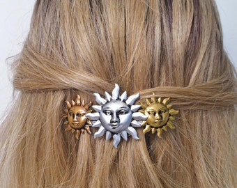 Sun Hair Barrette, french Hair barrette with Celestial Suns