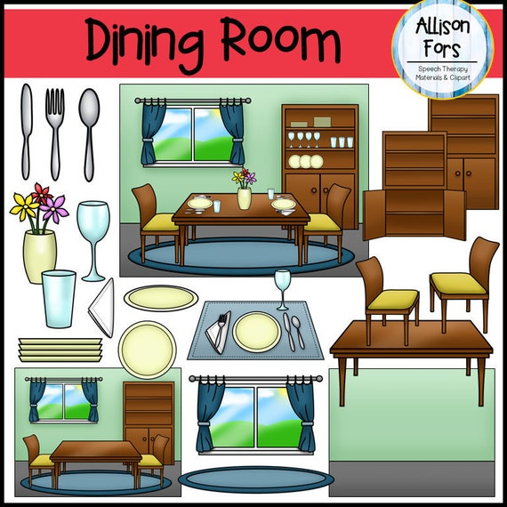 Kitchen Room Furniture Clipart: Dining Room Clip Art