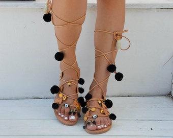 Bohemian Sandals, Boho Sandals, Pom Pom Sandals, Lace Up Sandals, Leather Sandals, Tie Up Sandals, Made In Greece From Genuine Leather..